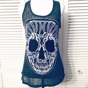 Xhilaration | 🌺Skull Embroidered Burnout Tank
